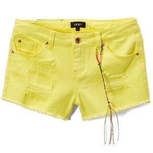 DKNY Lime Light Twill Raw Hem Hipster Girl Shorts